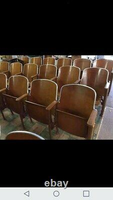 10 Rows Of 6 (60 Total) Vtg. Wood And Cast Iron Theater Chairs/seats/movie props