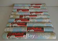 9 ROLLS ORIGINAL VINTAGE RETRO DULUX BLUE FLOWER POWE Wallpaper film prop 60/70S