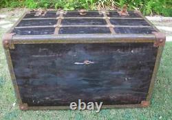Antique Flat Top Steamer Trunk Vintage Treasure, Storage, Toy, Chest, Movie Prop