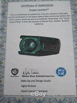 Green Lantern Ring Movie Prop Used By Ryan Reynolds Warner Bros Coa