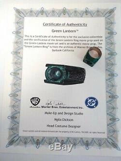 Green Lantern Ring Original Movie Prop Ring With Warner Bros/dc Comics Coa