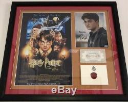 Harry Potter Daniel Radcliffe Signed Beckett Hogwarts Movie Prop Framed JSA PSA