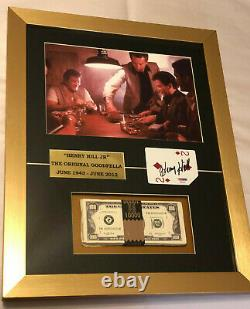 Henry Hill Hand Signed Autographed Framed Playing Card with Prop Money PSA COA