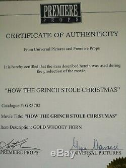 How The Grinch Stole Christmas Gold Whooey Trumpet Horn Movie Prop, COA