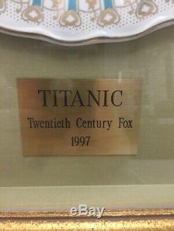 J. PETERMAN FRAMED TITANIC DINNER PLATE WHITE STAR LINE MOVIE PROP With COA