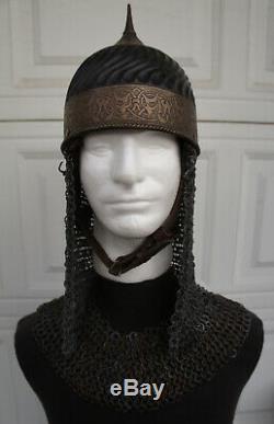 Medieval Turkish Helmet chainmail mantle LARP SCA DRACULA UNTOLD Movie Prop S