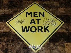Men At Work Rare Prop Metal Traffic Signed Charlie Sheen Emilio Estevez Movie