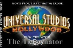 Movie Prop, The Terminator 1984, L. A. P. D. Hat. With Hat Badge. Hero screen. COA