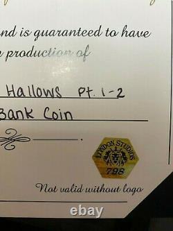ORIGINAL HARRY POTTER PROP Gringotts Bank Coin