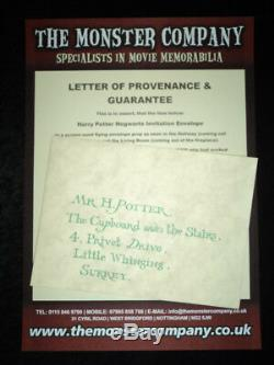 Screen Used Prop Harry Potter & Philosophers Stone Hogwarts Flying Invitation
