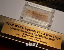 Signed PETER MAYHEW Autograph Frame, Prop CHEWBACCA Hair, STAR WARS Blu DVD, COA