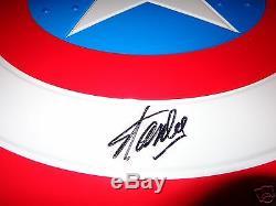 Stan Lee Signed Deluxe Marvel Full Size Prop Metal Shield Captain America + COA