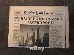 Superman The Movie 1978 Prop Newspaper Blue Bomb Buzzes Metropolis