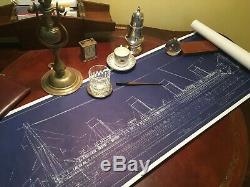 Titanic movie Prop Original Blue Print 1997 J Peterman Co
