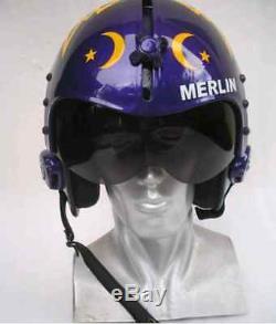 Top Gun Merlin Flight Helmet Movie Prop Pilot Naval Aviator Usn Navy