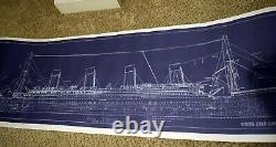 White Star Lines RMS Titanic Ship Blue Print as seen in games/ movies 15 x 50
